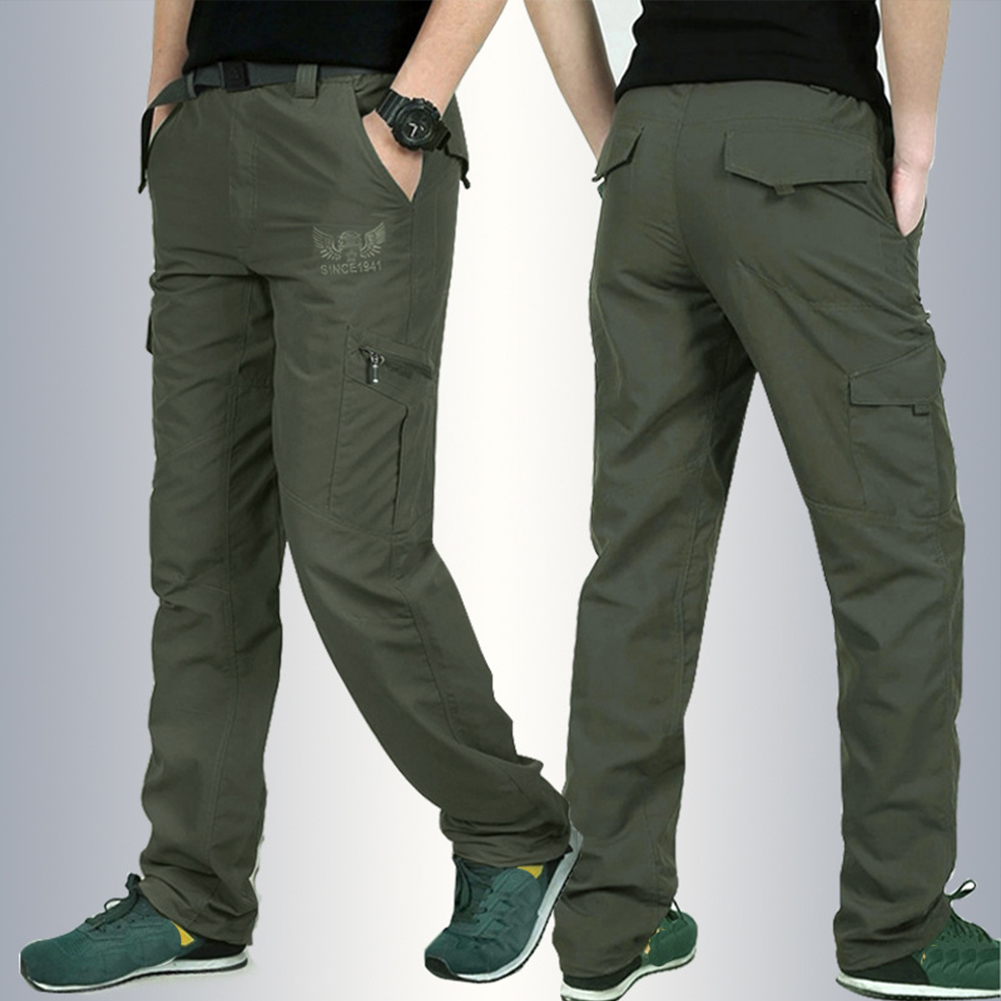 Men Lightweight Thin Loose Quick Dry Waterproof Trousers Pants for Outdoor Sports Mountaineering   Army green_XXL