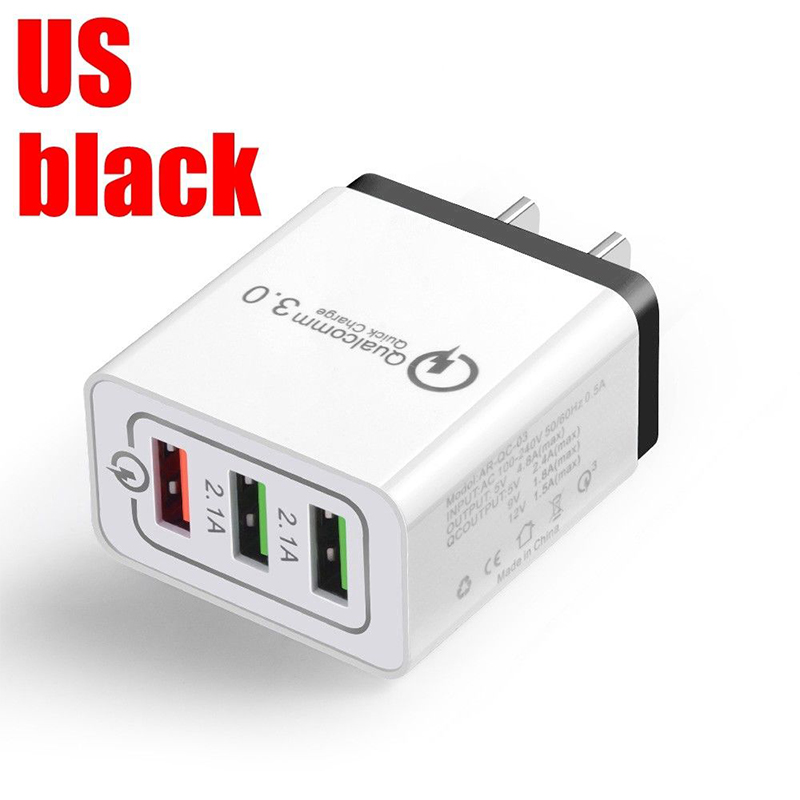 30W QC 3.0 Fast Quick Charger 3 Port USB Hub Wall Charger Adapter black_U.S. regulations
