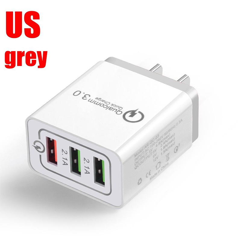 30W QC 3.0 Fast Quick Charger 3 Port USB Hub Wall Charger Adapter gray_U.S. regulations