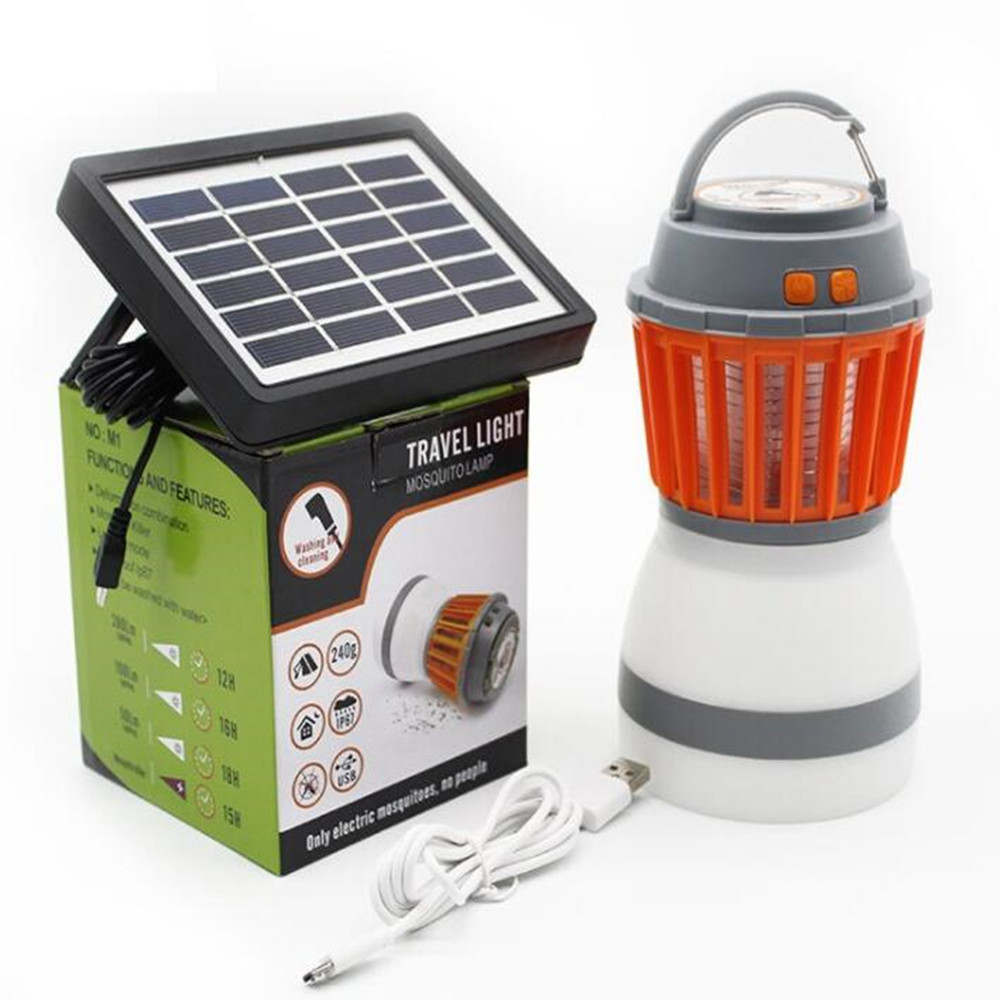 Multifunction 5V Portable 2 in 1 LED Camping Light Mosquito Killer Lamp with Solar Panel for Garden Hiking Home Use Solar panel + USB cable