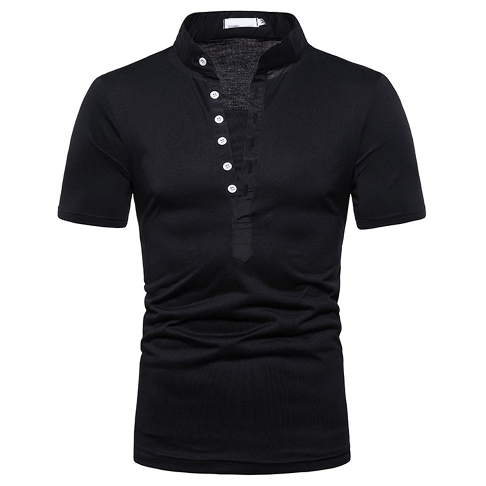 Fashion Men Slim Fit V Neck Short Sleeve Muscle Tee T-shirt  black_M