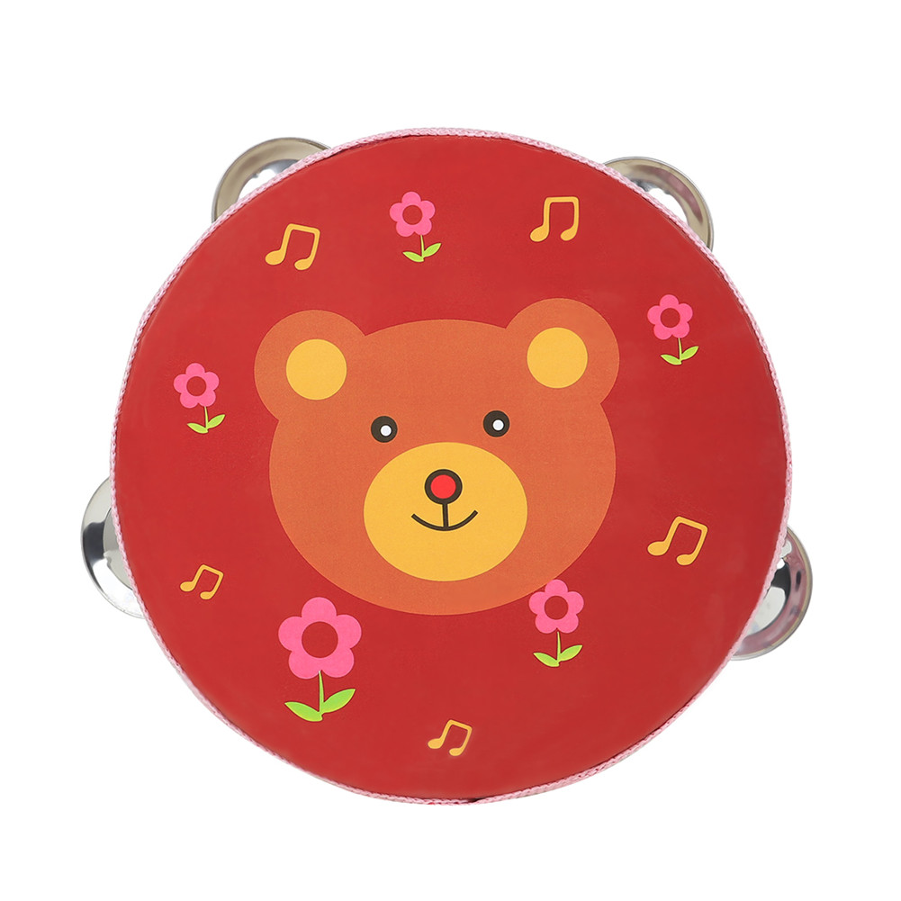 6 inch Tambourine for Children Cartoon Child-Friendly Design Popular Music Instrument for The of Rhythm and tact  Red bear
