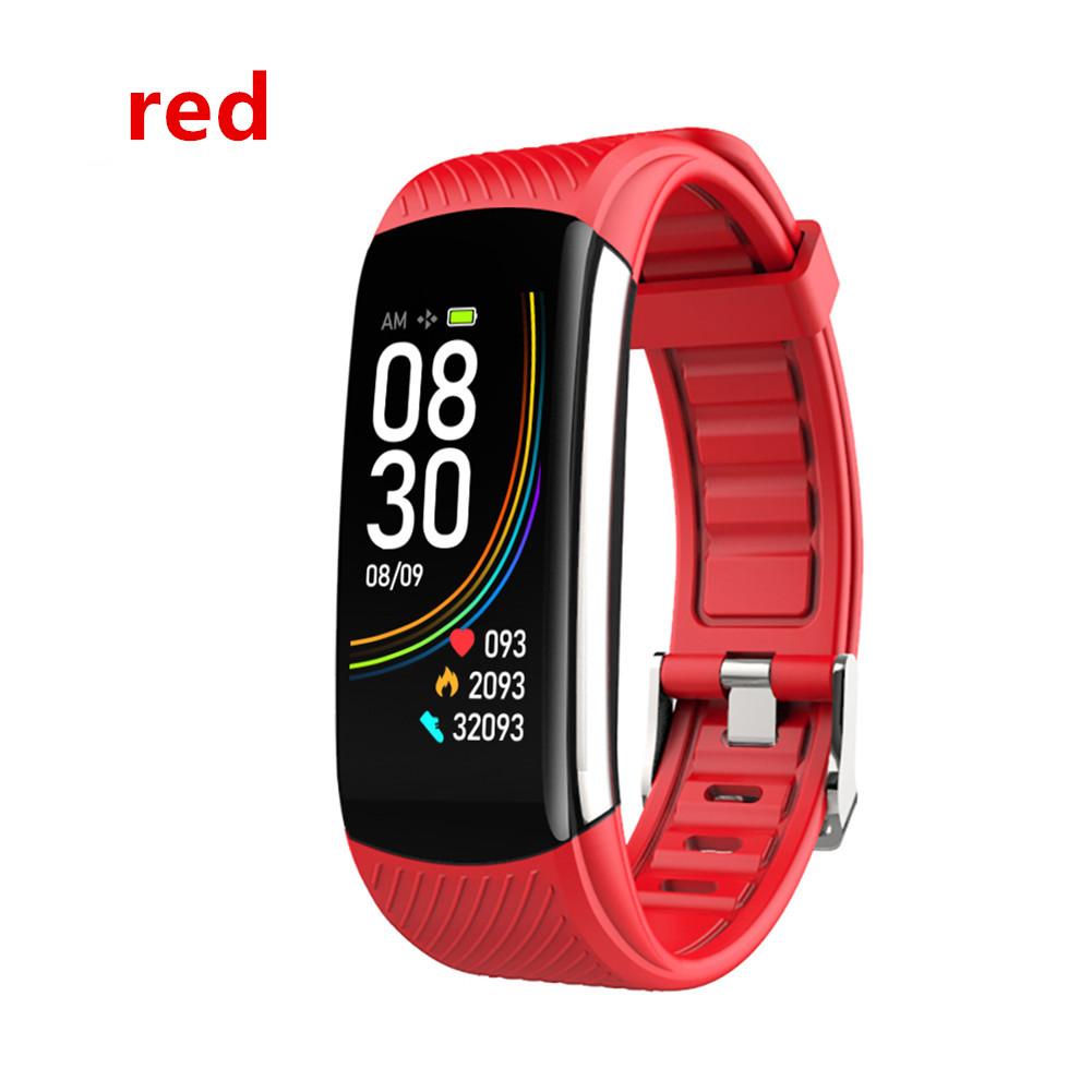Smart Bluetooth Bracelet Temperature Measure ECG Heart Rate Blood Pressure Sleep Exercise Watch Band red