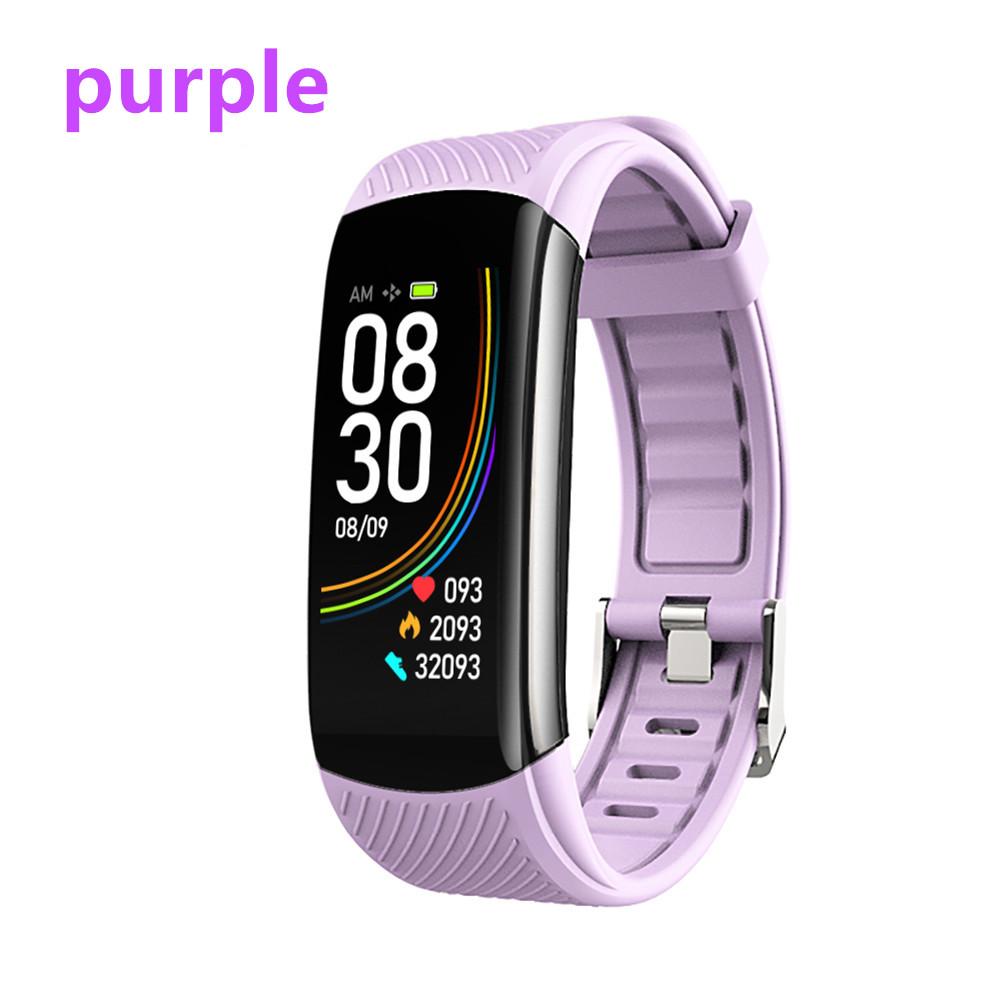 Smart Bluetooth Bracelet Temperature Measure ECG Heart Rate Blood Pressure Sleep Exercise Watch Band purple