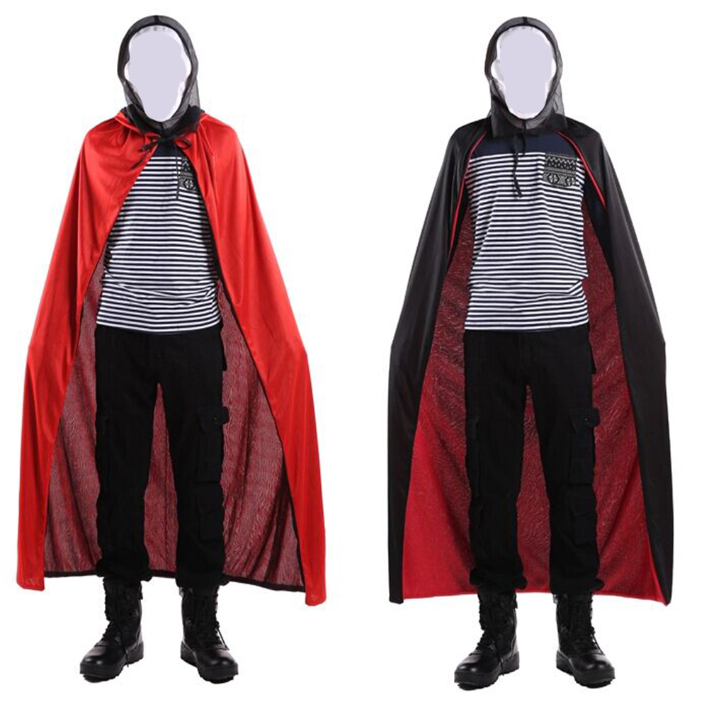 Children Halloween Cloak Black Cloak Costume Black and Red Double-sided Cloak cap  120cm