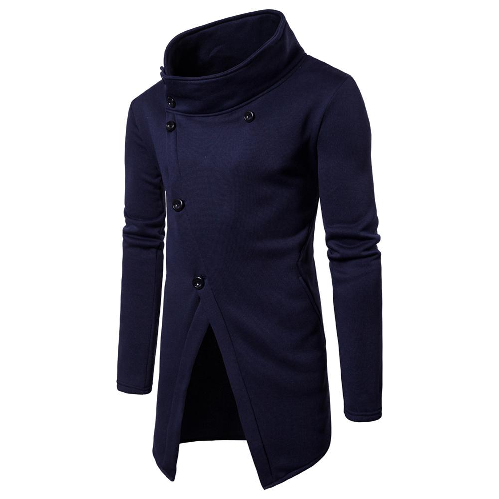 Men Fashion Slim Oblique Buttons Sweatshirts Coat Navy_L