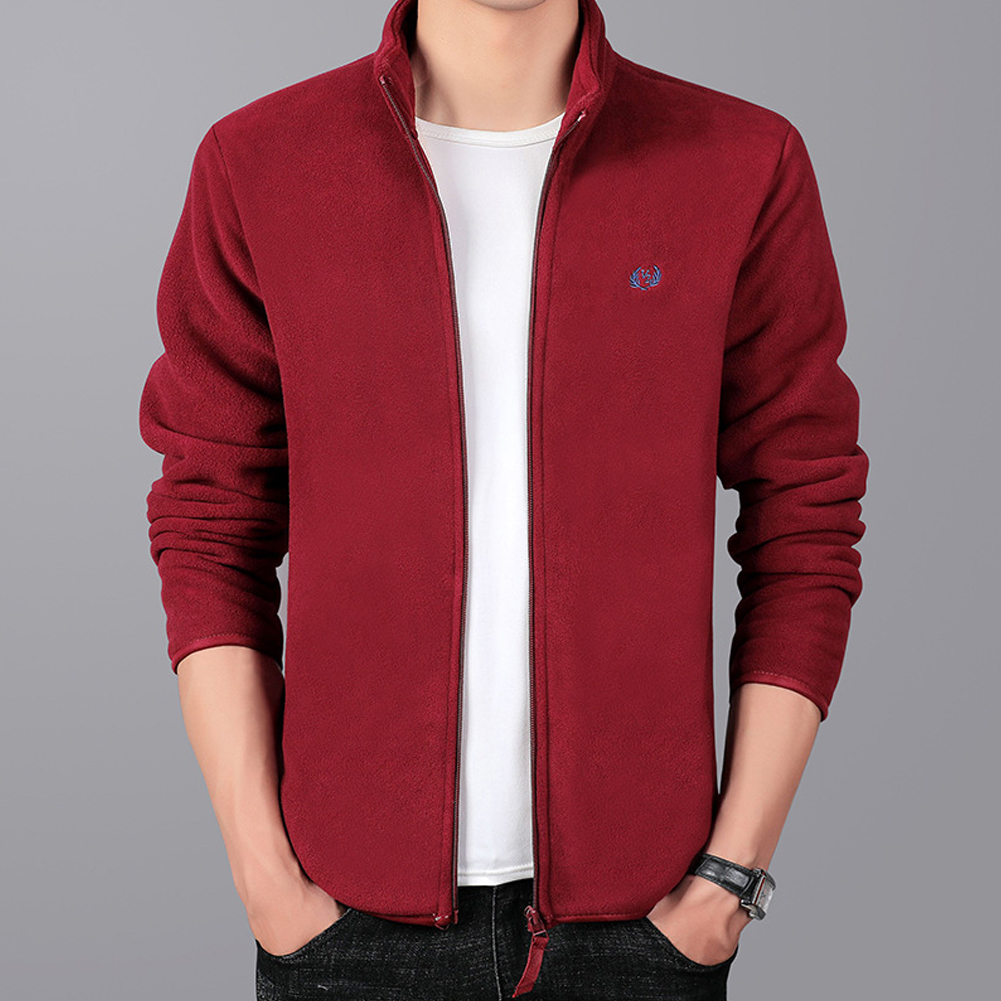 Men Autumn Winter Casual Stand-up Collar Cotton Blend Jacket Coat Top red_M