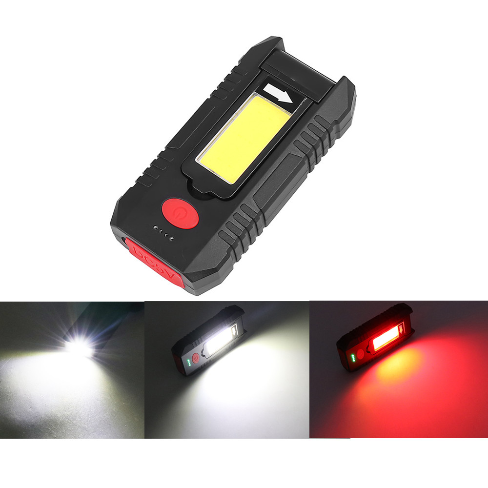 Portable COB LED Work Light Folding Rotatable USB Charging Flashlight with Hanging Hook black_YD-27