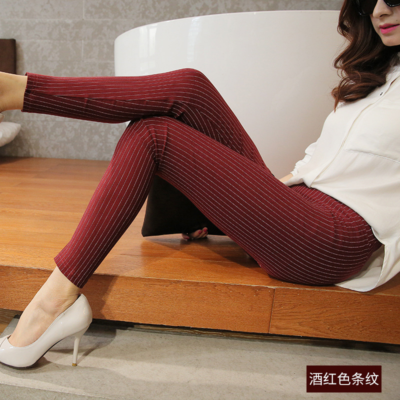 Women Pants Spring Summer Female Fashion Vertical Striped Pencil Ankle-length Pants