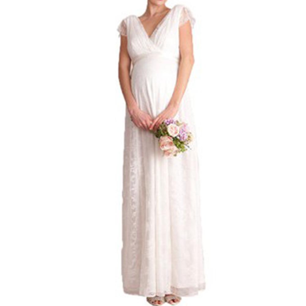 Women Dress Lace Solid Color White V-neck Multi Size Long Dress white_l