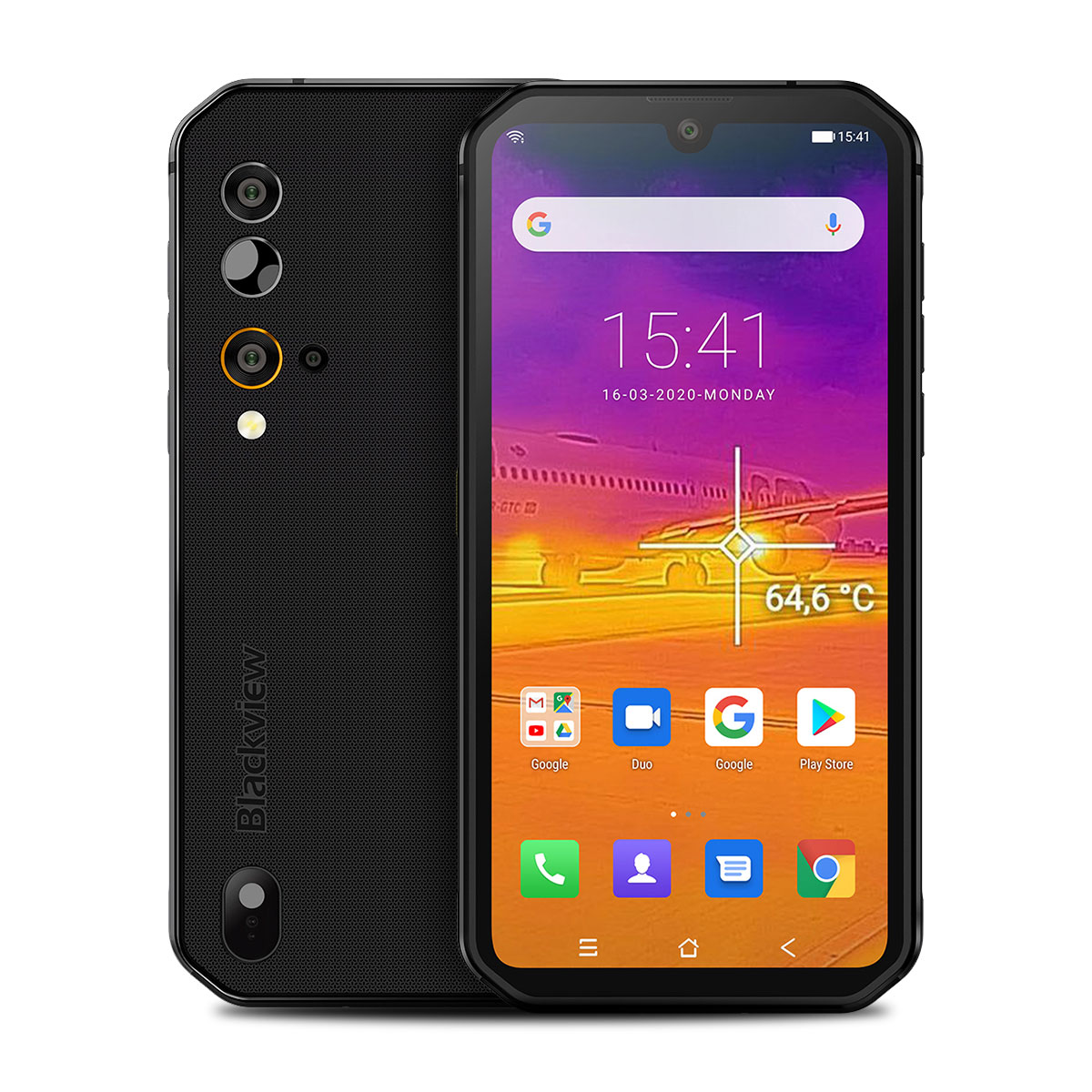 Blackview BV9900 Pro Thermal Camera Mobile Phone Helio P90 Octa Core 8GB+128GB IP68 Rugged Smartphone 48MP Quad Rear Camera black_Non-European regulations