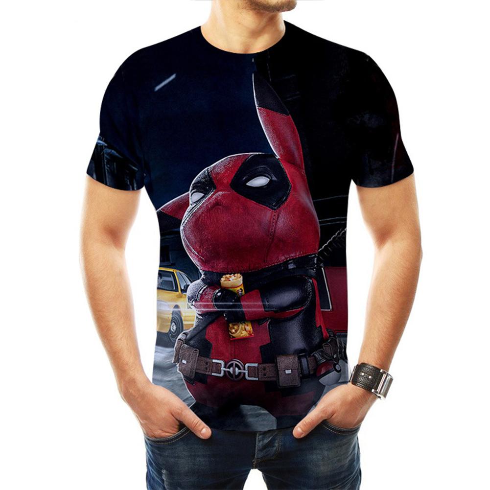 Men Women Pokemon's Detective Pikachu Cosplay 3D Movie Cartoon Printing Short Sleeve T-Shirt  B_XL