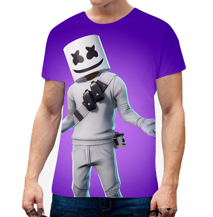 Unisex Vivid Color 3D DJ Marshmello Pattern Fashion Loose Casual Short Sleeve T-shirt  A_XL
