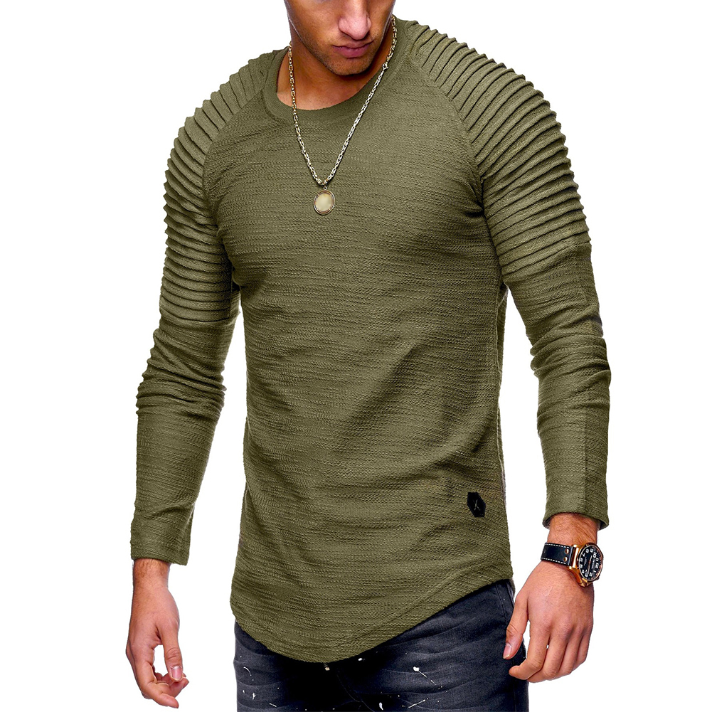 Men Slim Fit O Neck Long Sleeve Muscle Shirt Casual Solid Color Tops Blouse ArmyGreen_XL