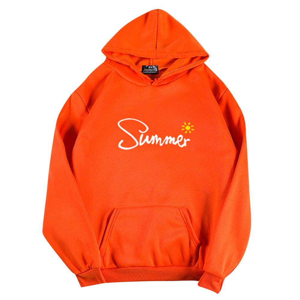 Men Women Hoodie Sweatshirt Thicken Velvet Summer Sun Autumn Winter Loose Pullover Tops Orange_XL