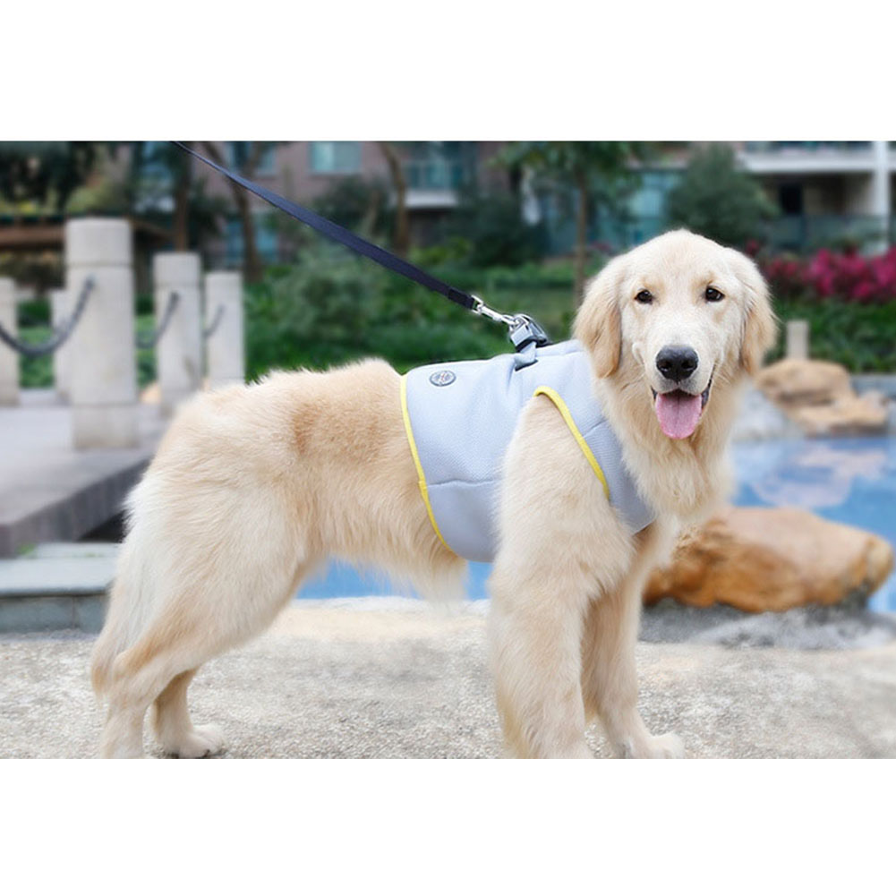 Pet Cooling Harness Summer Vest for Dog Puppy Outdoor Walking Gray yellow_XL