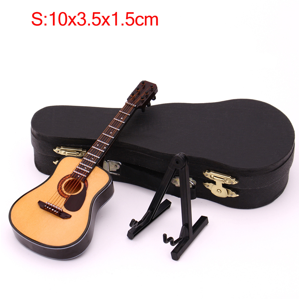 Mini Full Angle Folk Guitar Guitar Miniature Model Wooden Mini Musical Instrument Model Collection S: 10CM_Acoustic guitar full angle