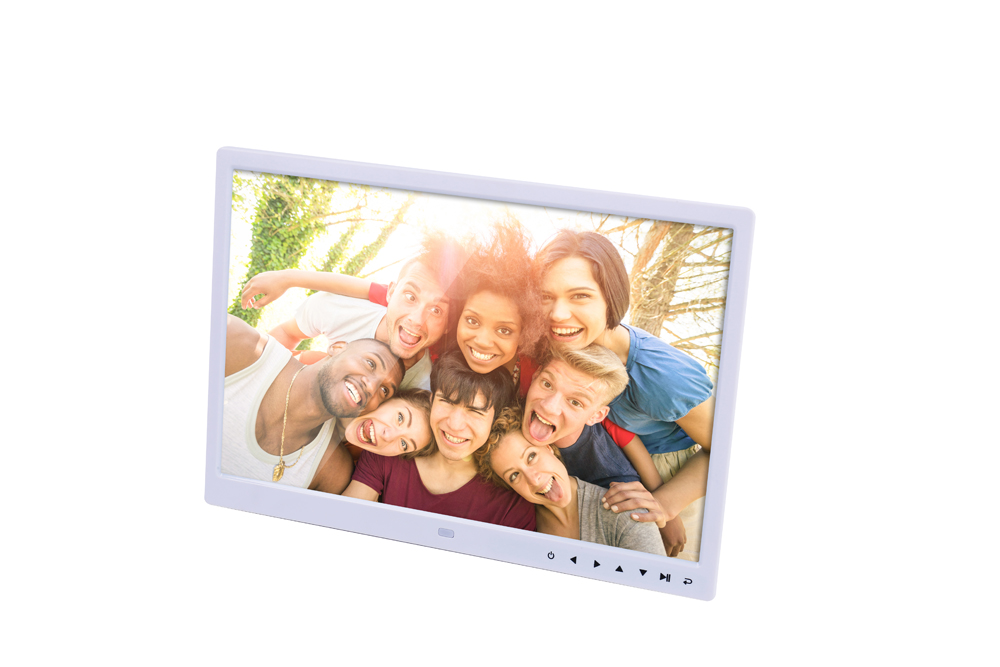 15 inch Digital Picture Photo Frame 1280x800 HD Resolution 16:9 Wide Picture Screen Clear and Distinct Display  White EU plug