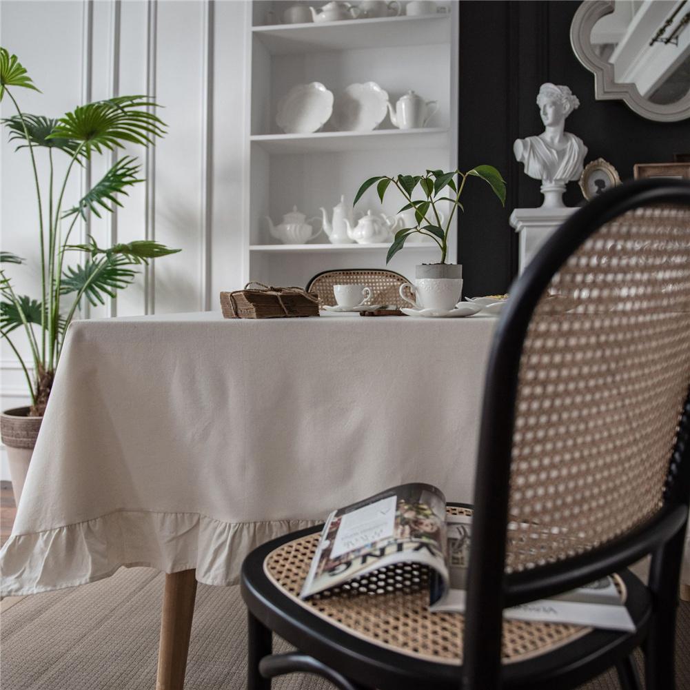 Cotton Flounce Tablecloth For Home Picnic Camping Outdoor Table Cloth Decor White_140*160cm