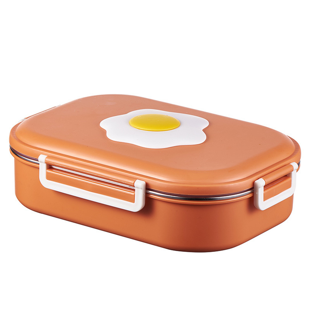 Lunch Box Stainles Steel Partitioned Isolated Portable Food  Storage  Container Orange