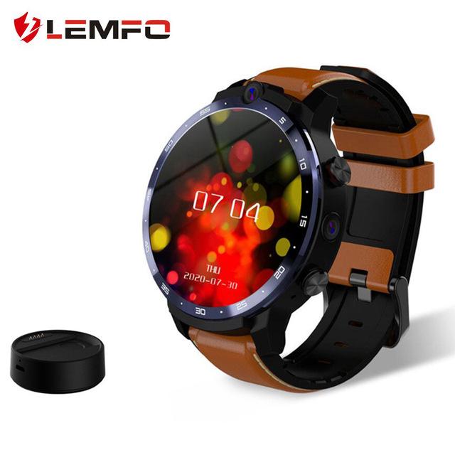 Original LEMFO Men  Smart  Watch 4+64GB GPS Smartwatch 5mp+8mp Dual Cameras Heart Rate Monitor Waterproof Sport Watch brown