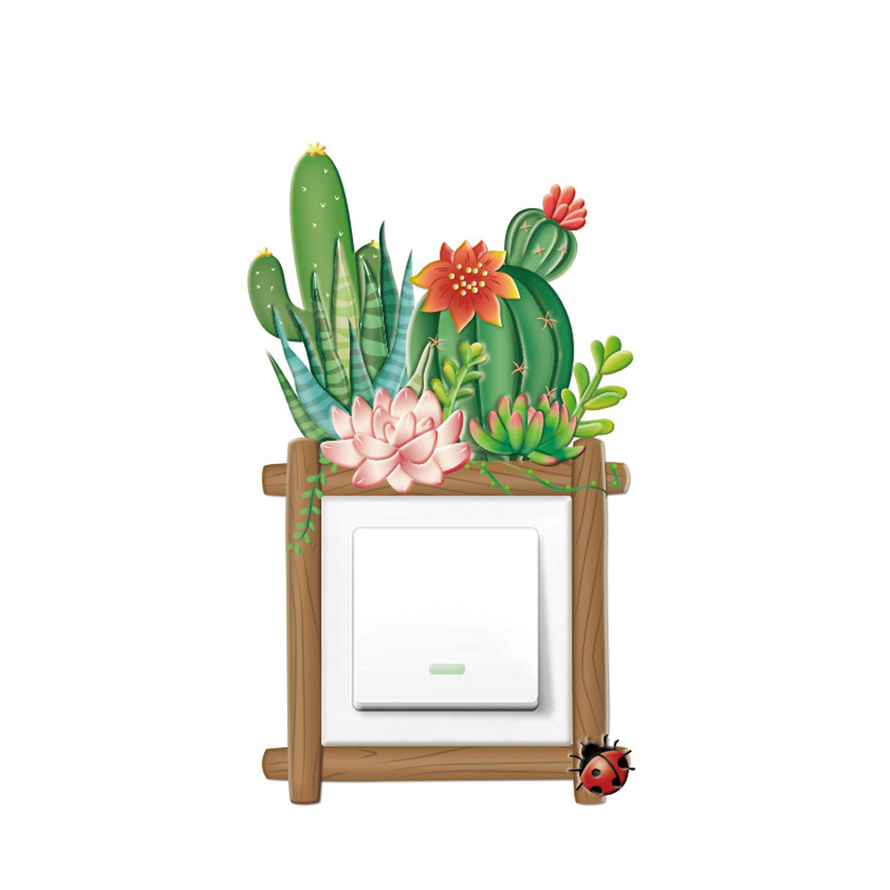 Cartoon 3D Noctilucence Self-adhesion Wall Switch Sticker for Home Decoration K012 succulents