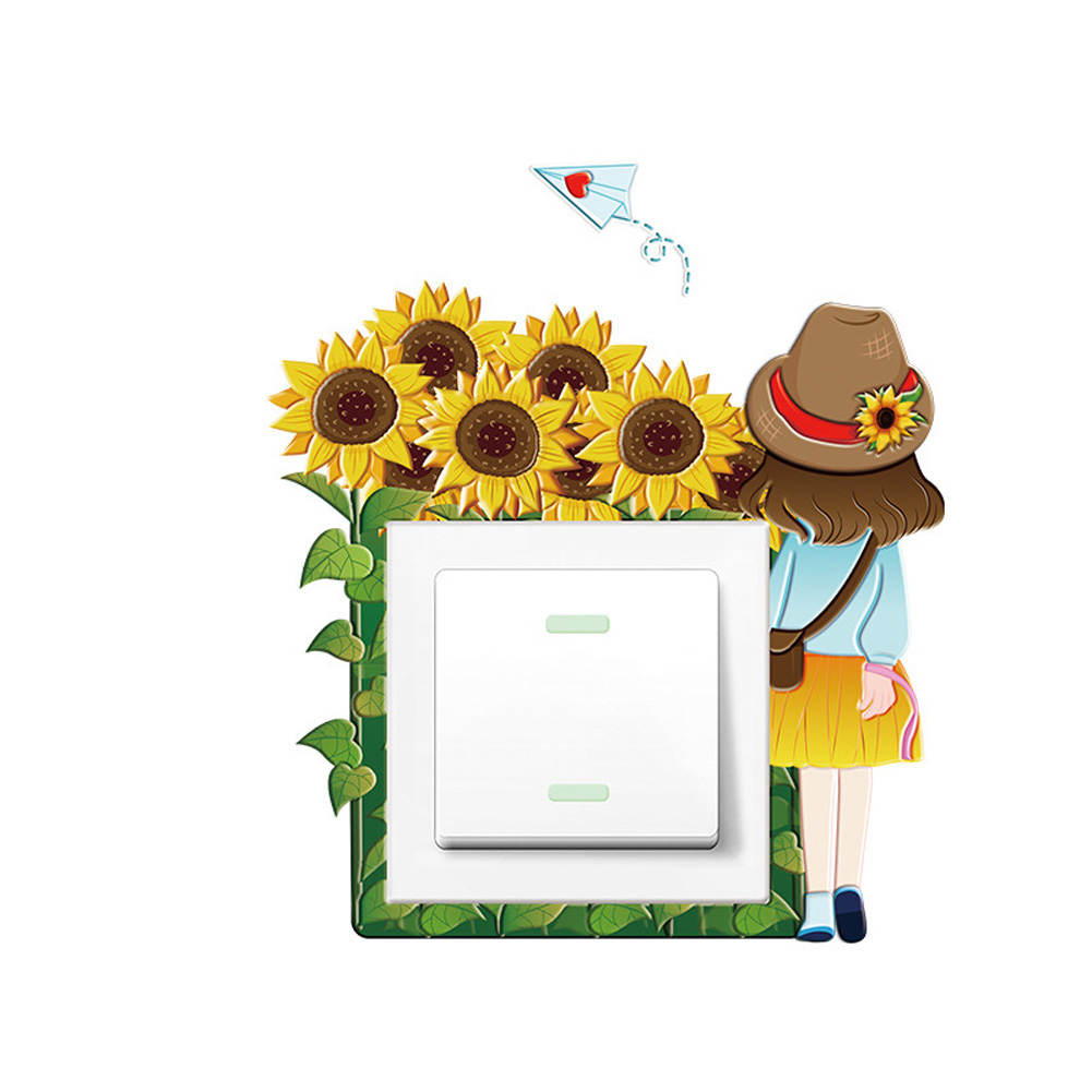 Cartoon 3D Noctilucence Self-adhesion Wall Switch Sticker for Home Decoration K007 sunflower girl