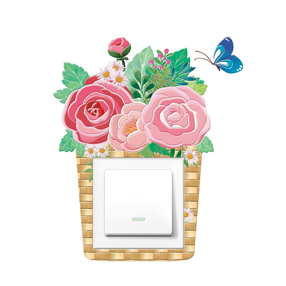 Cartoon 3D Noctilucence Self-adhesion Wall Switch Sticker for Home Decoration K015 rose flower