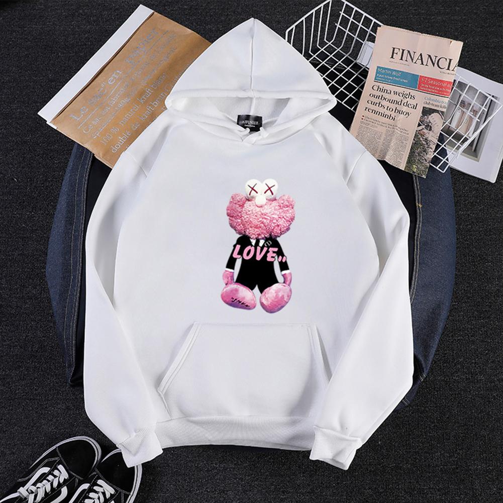 KAWS Men Women Cartoon Hoodie Sweatshirt Love Bear Thicken Autumn Winter Loose Pullover White_M