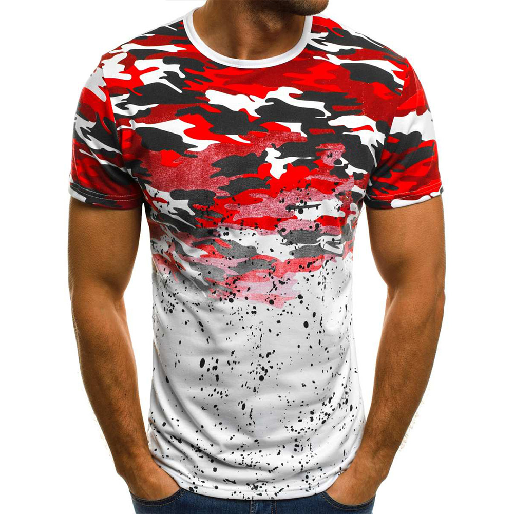 Male Short Sleeves Shirt 3D Pattern Digital Printed Top Leisure Pullover for Man Red camouflage_XXL