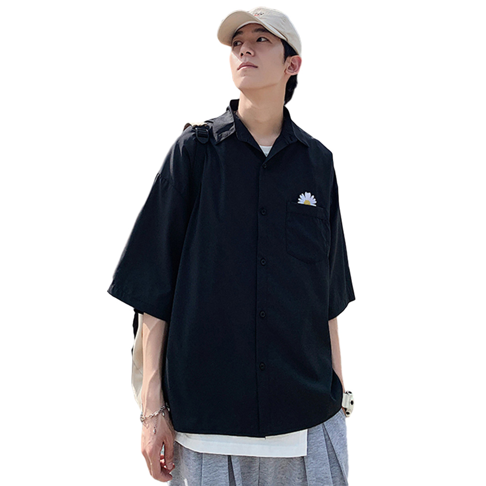 Men Short Sleeve Shirt Summer Thin Fashion Loose Daisy Pattern Tops Black_M