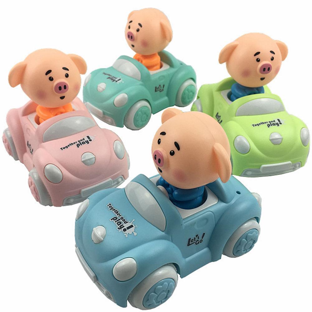 Children Cute Cartoon Inertia Car Mini Funny Pig Toy Car Gifts (Random Color)