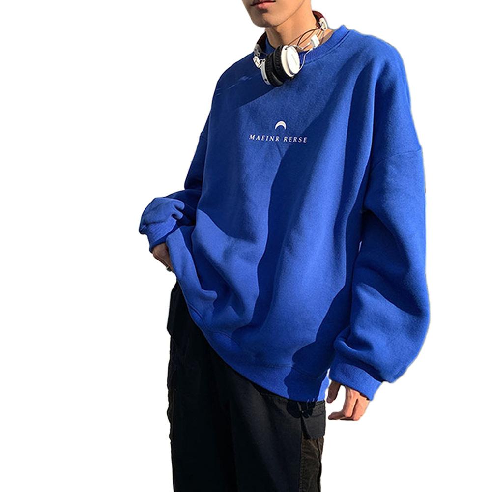 Men Women Crew Neck Sweatshirt Moon Letter Printing Solid Color Loose Fashion Pullover Tops Blue_XXXL