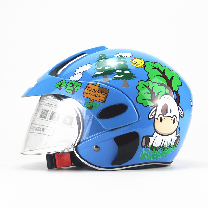 Kids Motorcycle Helmet Children Half Helmet For Children Cycling Head Protector  Blue calf_Free size
