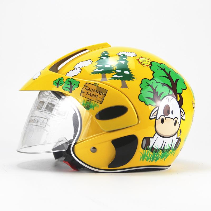 Kids Motorcycle Helmet Children Half Helmet For Children Cycling Head Protector  Yellow calf_Free size