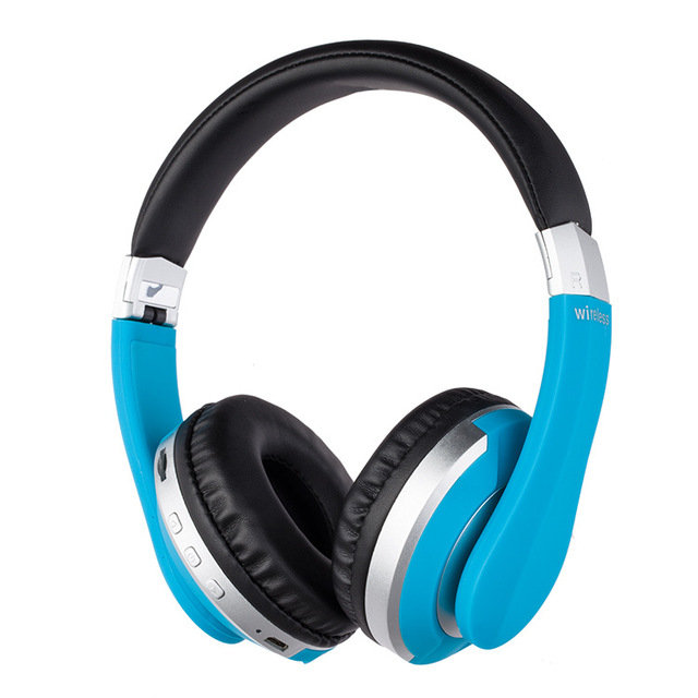 Wireless Headphones Bluetooth Headset Foldable Stereo Gaming Earphones with Microphone Support TF Card for IPad Mobile Phone blue