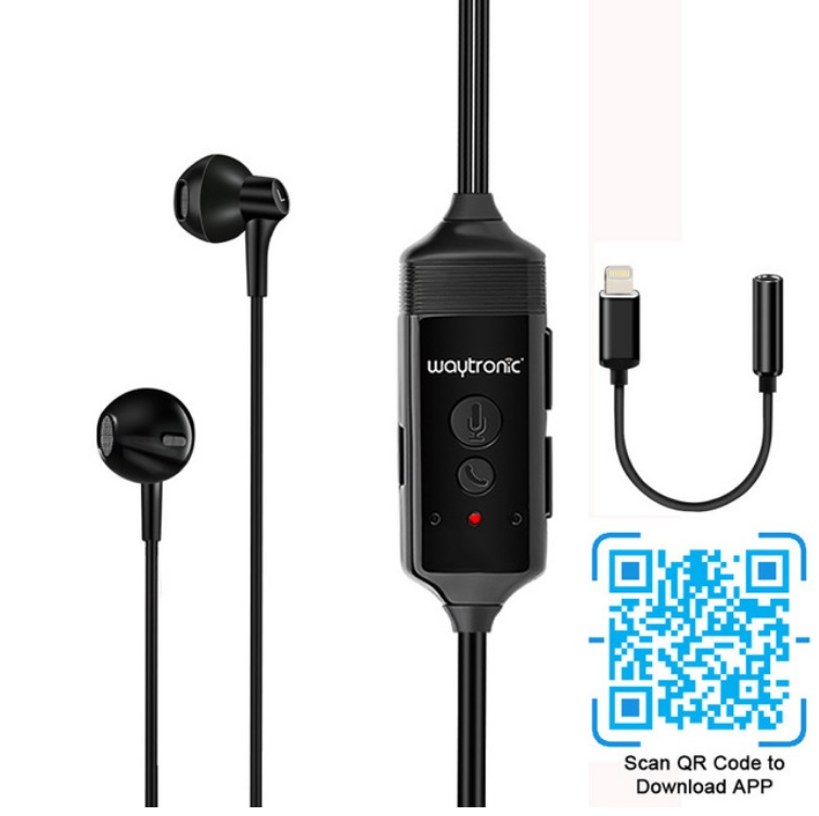 Phone Call Recorder Mobile Earphone for iPhone Skype WeChat Facebook Voice Call Recording  Black + apple adapter