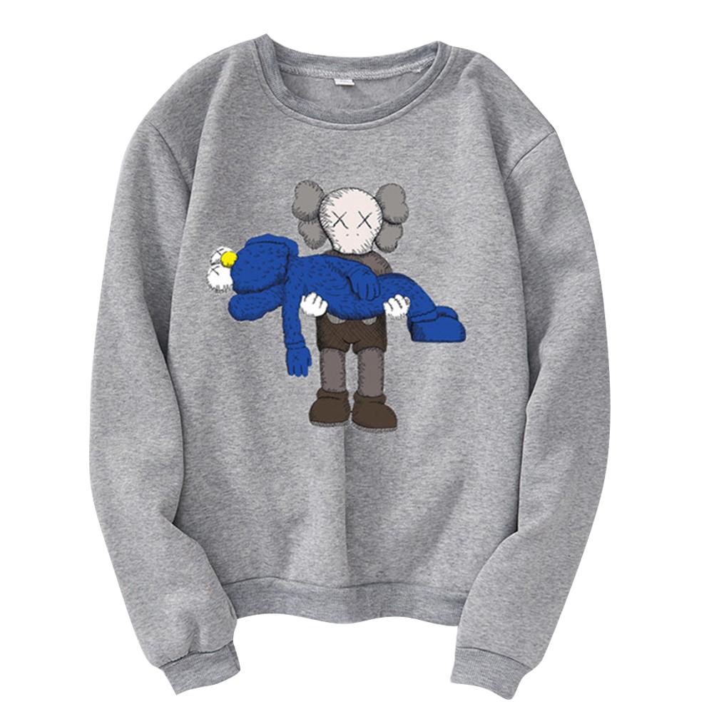 Men Women Loose Cute Cartoon Printing Round Collar Fleece Sweatshirts gray_XL