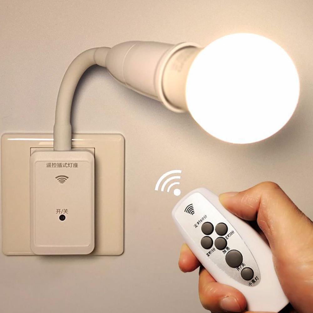E27 LED Remote Control Plug Lamp Holder Light Base for Night Light Bedside Lamp (without Light Source) International standard flat plug, two inserts version