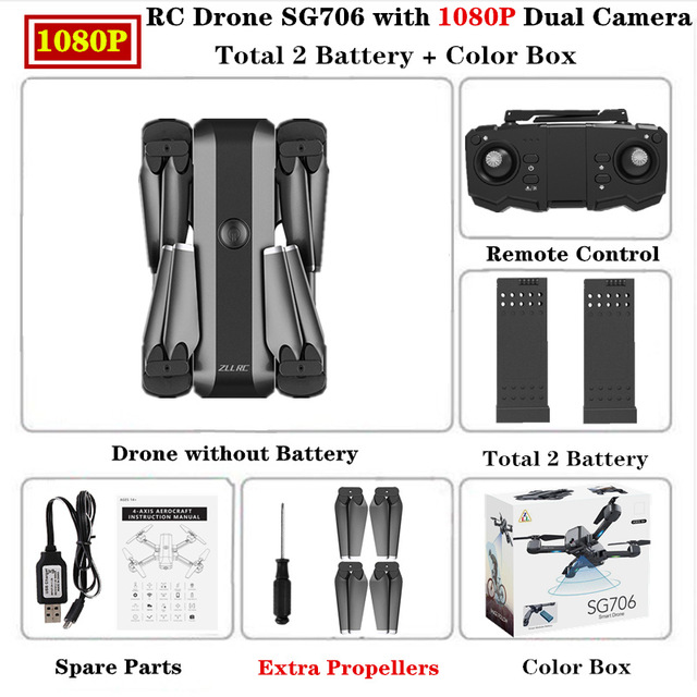 SG706 Drone 4K HD Dual Camera Professional Selfie Foldable Quadcopter Keep Flying Height Helicopter SG706 VS KF607 XS809S XS816 GD89 1080P color box 2 batteries