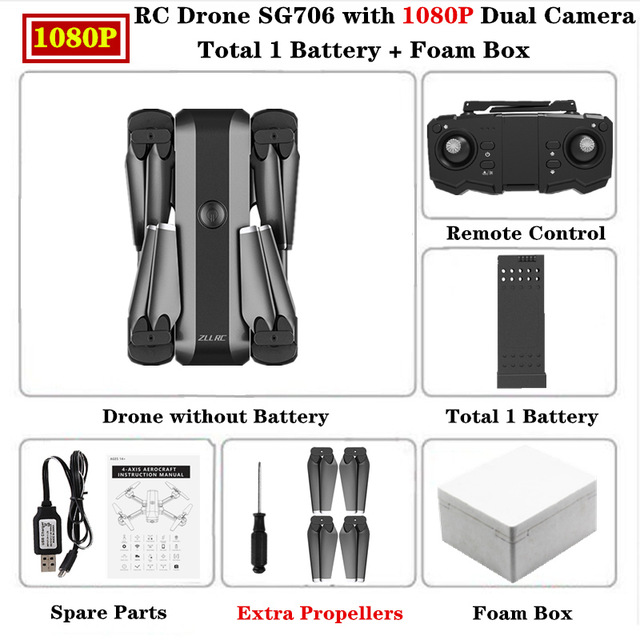 SG706 Drone 4K HD Dual Camera Professional Selfie Foldable Quadcopter Keep Flying Height Helicopter SG706 VS KF607 XS809S XS816 GD89 1080P foam box 1 battery