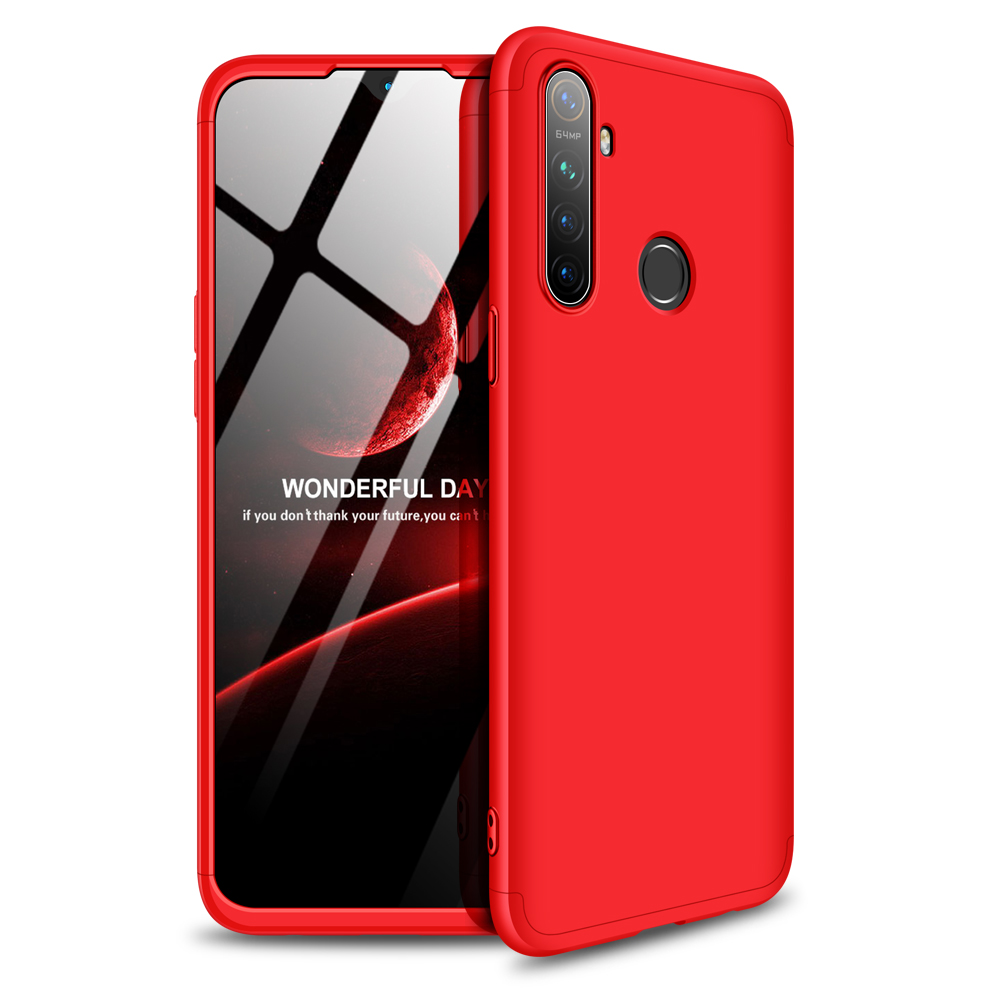 for OPPO Realme 5 Anti-Collision Protection Cover 360 Degree Full Coverage Phone Case Cellphone Shell Cover red