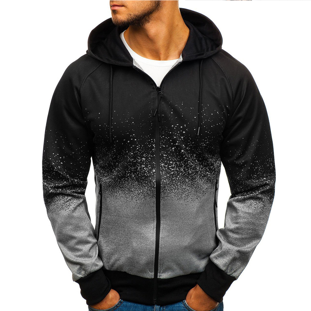 Men 3D Gradient Digital Printing Zipper Hooded Sweatshirt gray_M