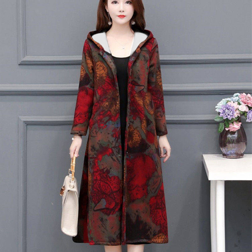 Autumn Winter Large Size Middle Age Mom Clothes Medium Overknee Printing Top Jacket 774 picture color_XL