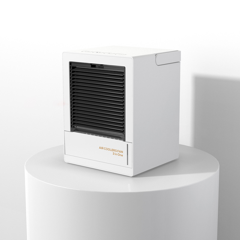 Home Automatic Shaking Air Cooler Humidifier Mute Air Conditioner Fan for Office Tabletop white_Rechargeable