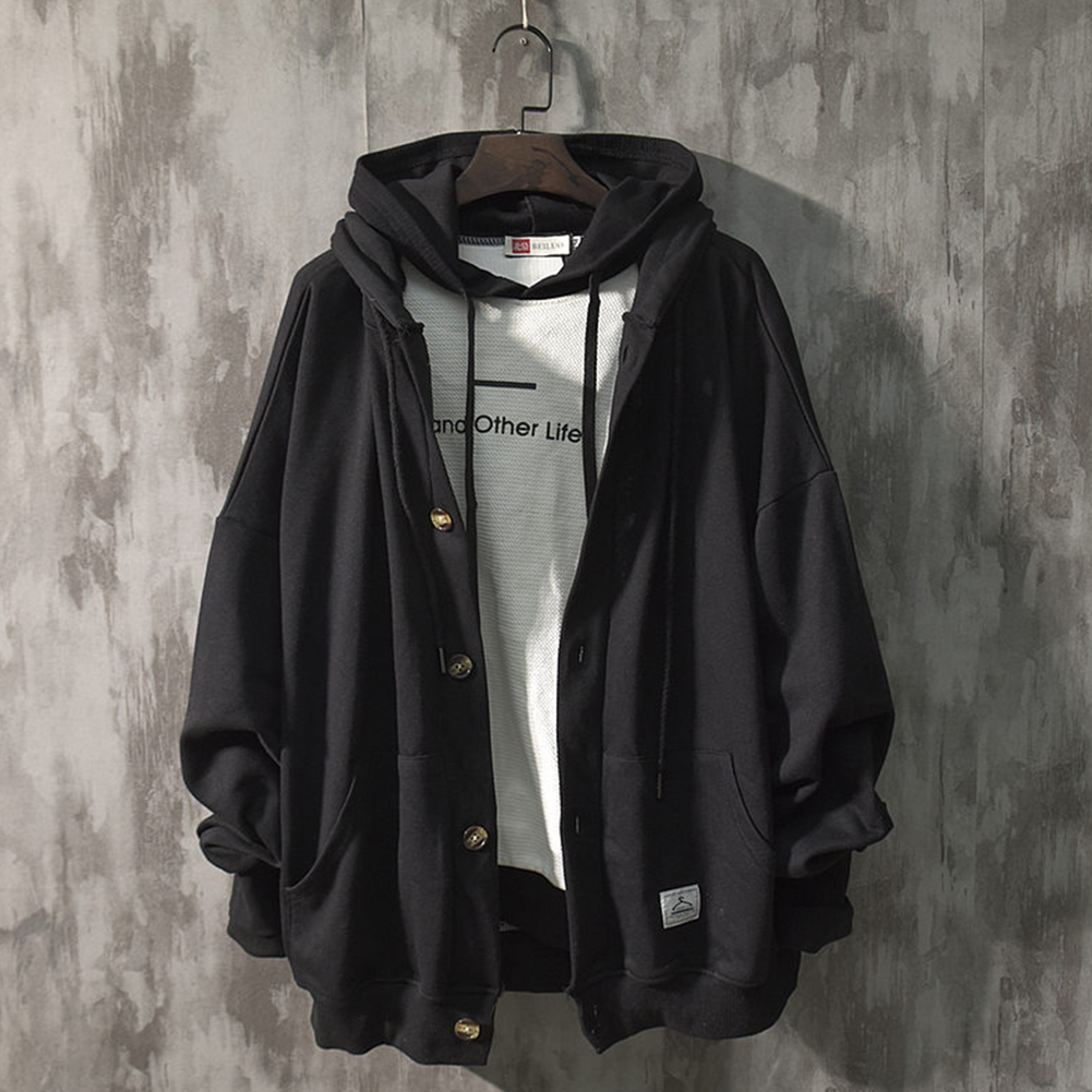 Man Fashion Autumn And Winter Warm Loose Hooded Sweater Coat Tops 563 black (spring)_XL