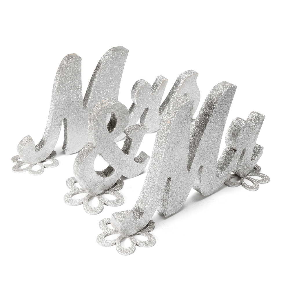 Wooden Letters MR & MRS Sign Wedding Table Decorations Gold Glitter Silver Glitter Sweetheart Tools (With 5 flower pads)