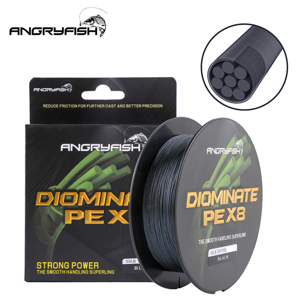 ANGRYFISH Diominate PE X8 Fishing Line 500M/547YDS 8 Strands Braided Fishing Line Multifilament Line Black 3.0#:0.28mm-40LB
