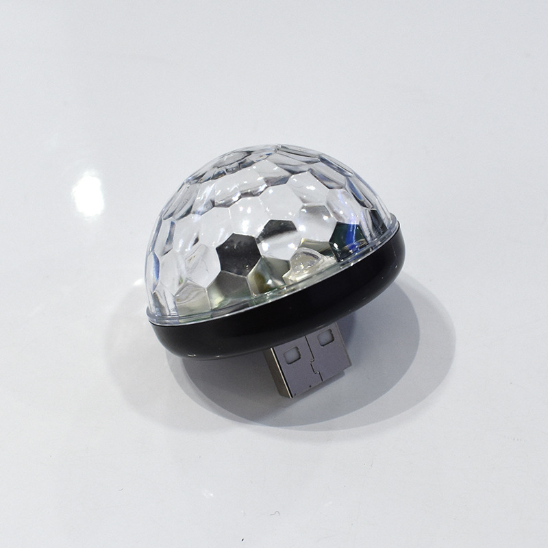 Mini USB Sound-controlled RGB Magic Ball Lamp for Car DJ Stage Android Apple Phone Black + USB connector