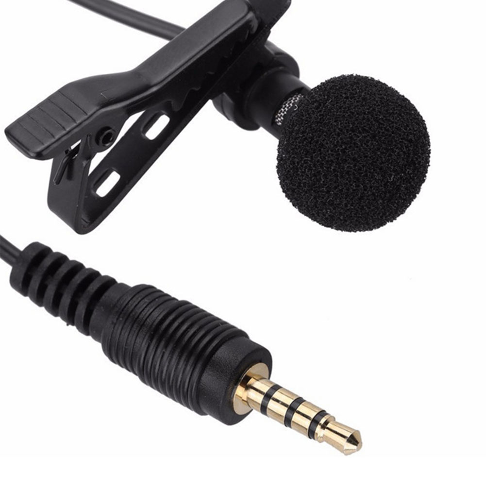 [Indonesia Direct] 3.5mm Jack Microphone Tie Clip-on Lapel Mikrofon Microfono Mic for Mobile Phone black_White PE bag packaging